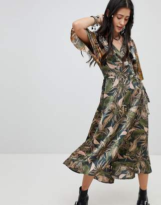 Native Rose Festival Maxi Tea Dress In Mixed Jungle Print