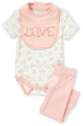 Baby Essentials Rene Rofe Baby (Newborn Girls) 3-Piece Bib, Bodysuit & Jogger Set