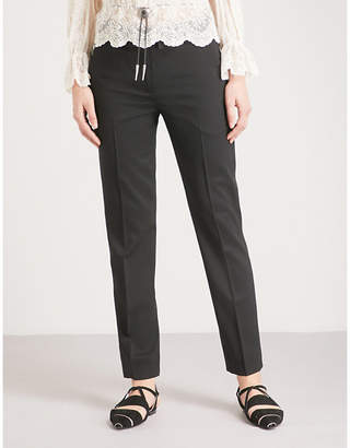 The Kooples Embroidered belt stretch-wool trousers