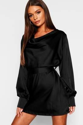 Black Satin Shift Dress - ShopStyle UK e6b5e669b