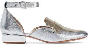 Schutz Moka Metallic Two-Tone Cracked-Leather Loafers