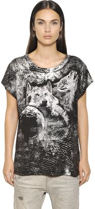 Wolves Print Cotton Blend Jersey T-Shirt $95 thestylecure.com
