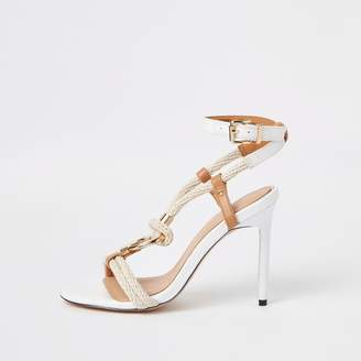 ff36a7e20260 River Island Womens White rope ring stiletto heel sandals