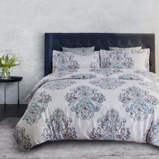 Bedsure Damask Gray 3 Piece Duvet Cover Set with Zipper Floral Ultra Soft Microfiber Vintage Bedding Set Full/Queen, Shams Included
