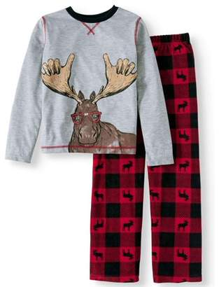 Komar Kids Boy's Buffalo Plaid Moose 2-piece Pajama Sleep Set (Little Boys & Big Boys)