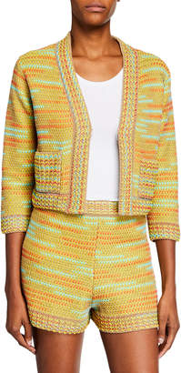 M Missoni Crochet Cropped 3/4-Sleeve Jacket