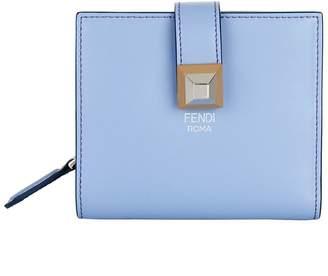 Fendi Leather Stud Embellished Billfold Wallet