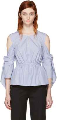 3.1 Phillip Lim Blue & White Striped Cold Shoulder Blouse $350 thestylecure.com
