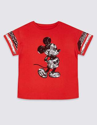 """Marks and Spencer Mickey Mouseâ""""¢ Pure Cotton T-Shirt (3-16 Years)"""