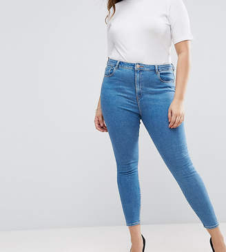 Asos DESIGN Curve Ridley high waist skinny jeans in lily mid wash blue