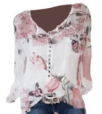 DressUWomen DressU Womens Plus Size Print Baggy Chiffon Long Sleeve Blouses Shirt Tops L