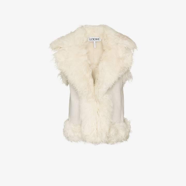 sleeveless shearling gilet coat