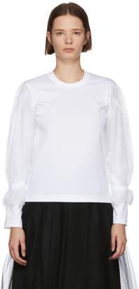 Noir Kei Ninomiya White Organza Sleeve T-Shirt