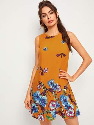 Shein Dragonfly & Floral Print Sleeveless Trapeze Dress