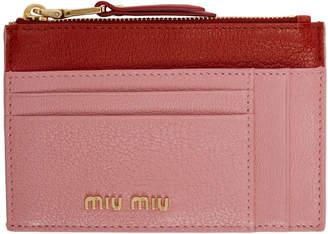 Miu Miu Pink and Red Zip Card Holder