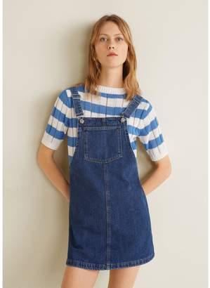 1e306e7f4a4 MANGO Denim Dungaree Pinny Dress - Dark Blue