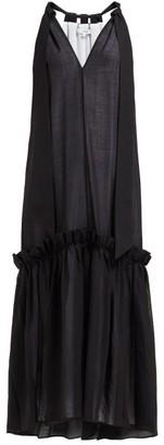 Tibi Gauze Overlay Wool Blend Dress - Womens - Black