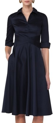 Women's Akris Punto Sateen Fit & Flare Shirtdress $1,190 thestylecure.com