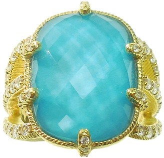 Judith Ripka 14K Clad Turquoise & Diamon ique Ring