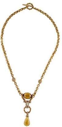 Stephen Dweck Citrine & Diamond Pendant Necklace