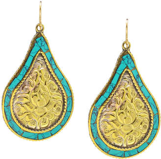 Devon Leigh Brass & Turquoise Teardrop Earrings