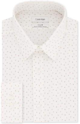 Calvin Klein Men Steel Slim-Fit Non-Iron Performance Stretch White Print Dress Shirt