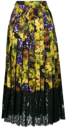 Dolce & Gabbana grape and floral print skirt