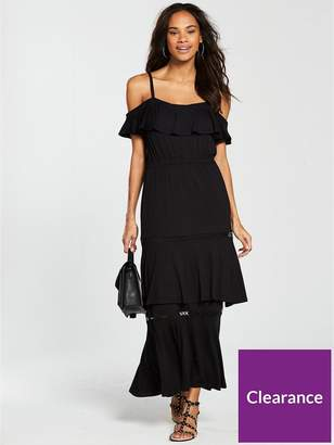 Very Tiered Trim Cold Shoulder Jersey Maxi Dress - Black