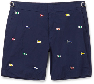 Newport Mid-Length Embroidered Swim Shorts $115 thestylecure.com