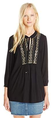 Angie Juniors' Long-Sleeve Tie-Neck Top with Gold Embroidery