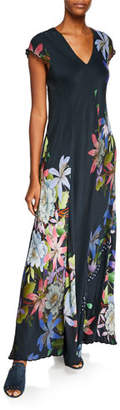 Johnny Was Kelly Scarf-Print Short-Sleeve Maxi Dress