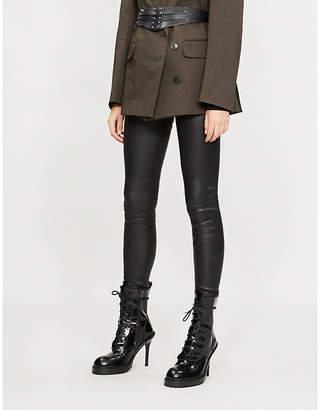 A.F.Vandevorst Raw-hem leather leggings