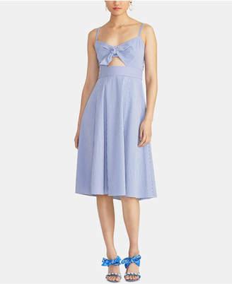 Rachel Roy Luciana Seersucker Cutout Fit & Flare Dress