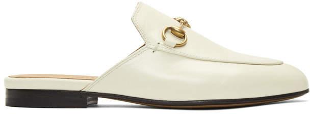 a220d12b09b Gucci White Princetown Slippers - ShopStyle