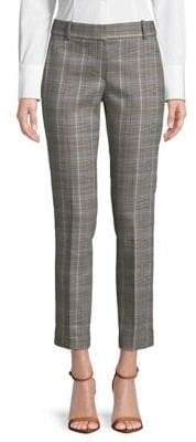 Theory Silk-Blend Check Straight-Fit Trousers