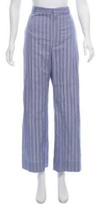 Balenciaga Striped High-Rise Pants Blue Striped High-Rise Pants