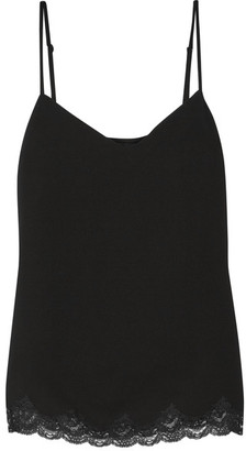 Theory - Sakshee Lace-trimmed Crepe Top - Black $255 thestylecure.com