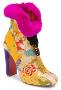 Christian Louboutin May Wong 100 Floral& Rabbit Fur Block Heel Booties