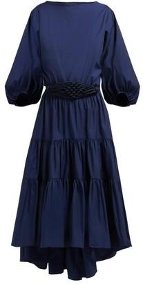 Binetti Love Simple Minds Tie Waist Cotton Dress - Womens - Blue