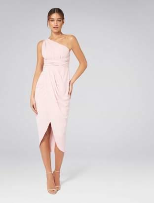 Forever New Mandy Petite One Shoulder Drape Maxi Dress - Nude - 4