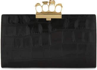 Alexander McQueen Knuckleduster crocodile-embossed leather clutch