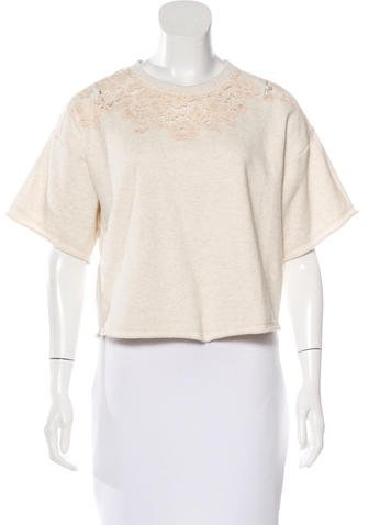 3.1 Phillip Lim 3.1 Phillip Lim Lace-Trimmed Short Sleeve Top