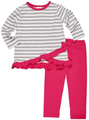 Florence Eiseman Ruffle-Hem Striped Top w/ Matching Leggings, Size 2-6X