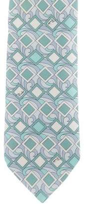 Emilio Pucci Abstract Geometric Print Silk Tie