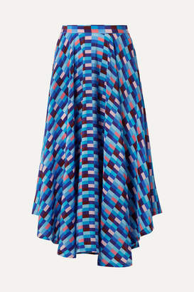 Riviera LHD - French Asymmetric Printed Silk Crepe De Chine Skirt - Blue