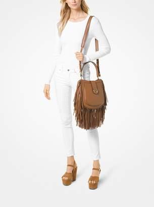 MICHAEL Michael Kors Lillie Medium Fringed Leather Shoulder Bag