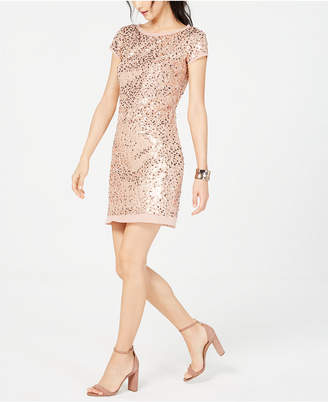 Vince Camuto Short-Sleeve Sequined Shift Dress