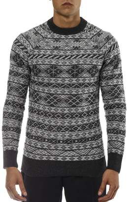 Diesel Black Gold Grey Wool Pullover With Nordic Pattern