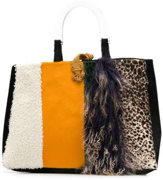 Liska goat fur and lamb fur tote fa5f2a5f293fd