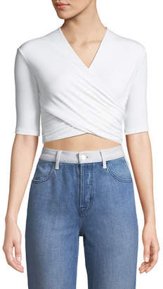 Alexander Wang Tie-Back Wrapped Crop Top